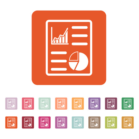 informe comercial: The business report icon. Audit and analysis, document, plan symbol. Flat Vector illustration. Button Set