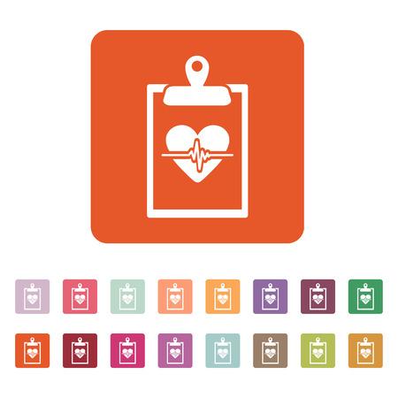medical report: The medical report icon. Medical and ambulance, cardiogram, healthcare symbol. Flat Vector illustration. Button Set