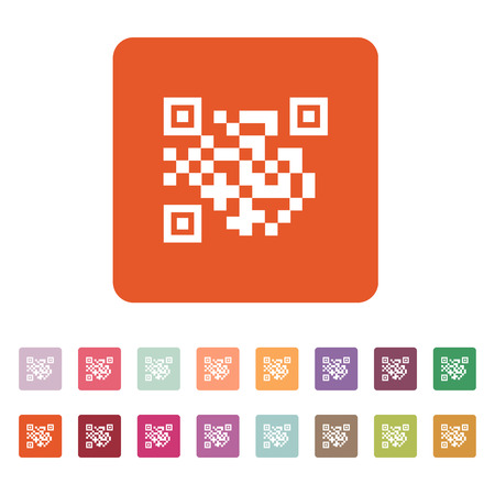 url: The QR code icon.  Link and URL symbol. Flat Vector illustration. Button Set