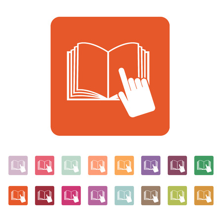 instru��o: The open book icon. Manual and tutorial, instruction symbol. Flat Vector illustration. Button Set Ilustra��o