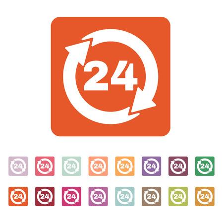 twenty four hour: The 24 hours icon. Twenty-four hours open symbol. Flat Vector illustration. Button Set