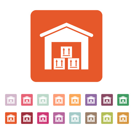 storehouse: The warehouse icon. Storehouse and logistic symbol. Flat Vector illustration. Button Set Vectores