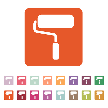 decorating: The paint roller icon. Decorating and painting, repair symbol. Flat Vector illustration. Button Set