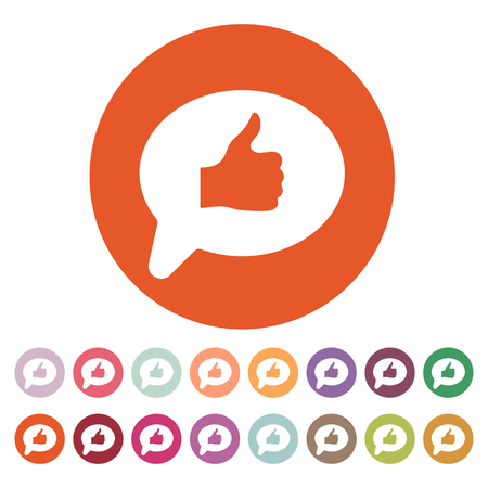 thumb up icon: Thumbs up in the speech bubble icon. Social network and web communicate, like symbol. Flat Vector illustration. Button Set