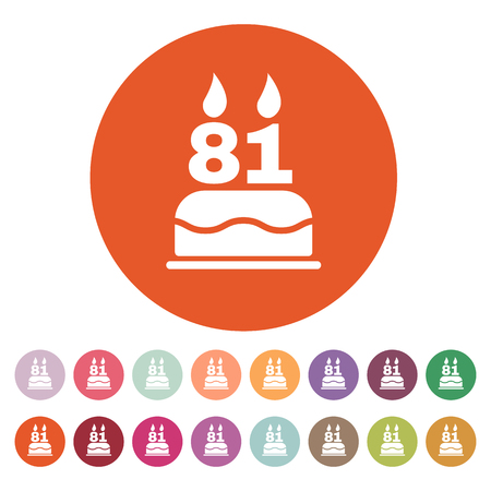 81: The birthday cake with candles in the form of number 81 icon. Birthday symbol. Flat Vector illustration. Button Set