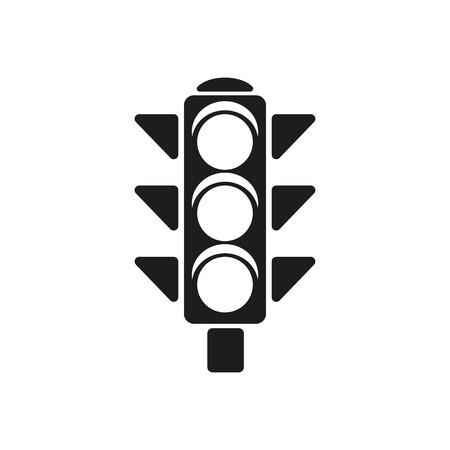 Het stoplicht icoon. Stoplicht en seinpaal, kruispunten symbool. Platte Vector illustratie