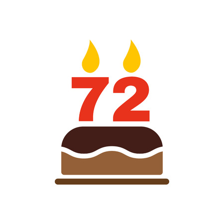 seventy two: The birthday cake with candles in the form of number 72 icon. Birthday symbol. Flat Vector illustration