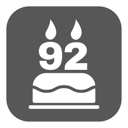 92: The birthday cake with candles in the form of number 92 icon. Birthday symbol. Flat Vector illustration. Button