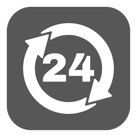 twenty four hour: The 24 hours icon. Twenty-four hours open symbol. Flat Vector illustration. Button Illustration