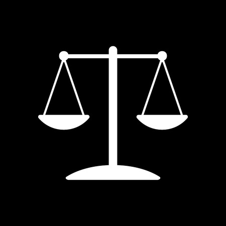 convicted: The scales icon.  Weigher symbol. Flat Vector illustration