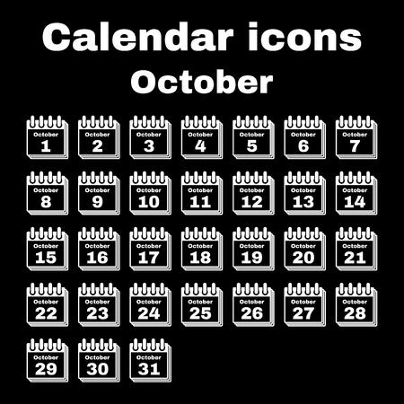 october: The calendar icon.  October symbol. Flat Vector illustration. Set