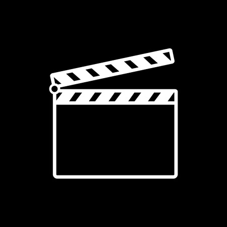 cine: The clapper board icon. Clapper board symbol. Flat Vector illustration