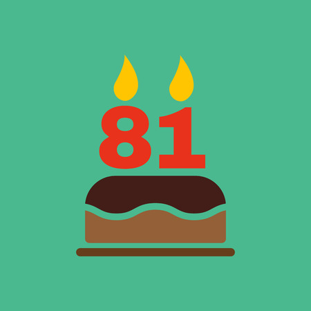 The Birthday Cake With Candles In The Form Of Number 81 Icon