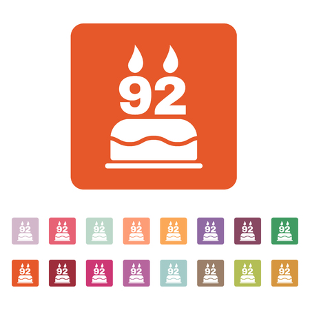 92: The birthday cake with candles in the form of number 92 icon. Birthday symbol. Flat Vector illustration. Button Set