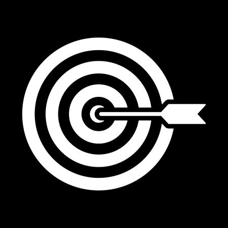 dart on target: The target icon. Target symbol. Flat Vector illustration Illustration