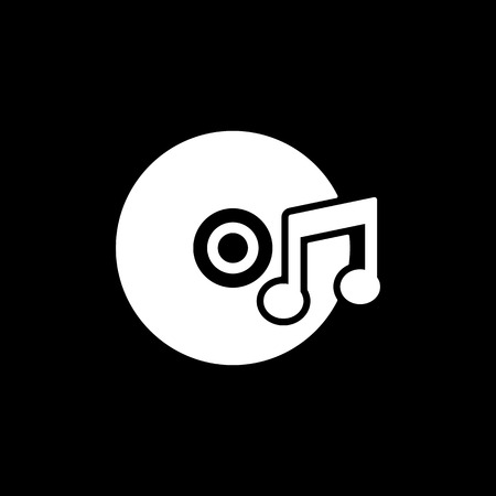 melodies: The music icon. Disc symbol. Flat Vector illustration