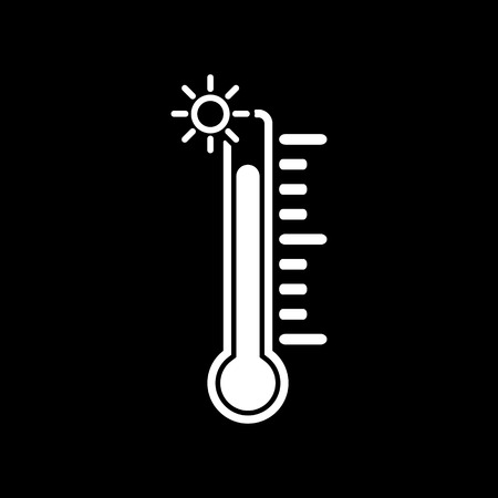 alta temperatura: The thermometer icon. High temperature symbol. Flat Vector illustration Vectores