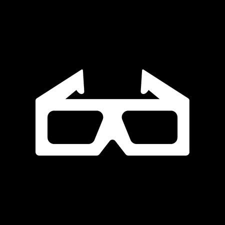 stereoscope: The 3d movie icon. 3D Glasses symbol. Flat Vector illustration