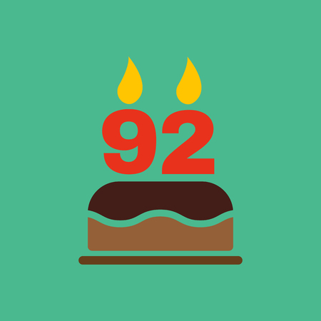 92: The birthday cake with candles in the form of number 92 icon. Birthday symbol. Flat Vector illustration