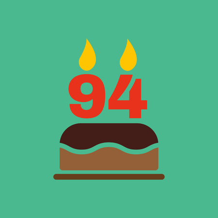 number candles: The birthday cake with candles in the form of number 94 icon. Birthday symbol. Flat Vector illustration