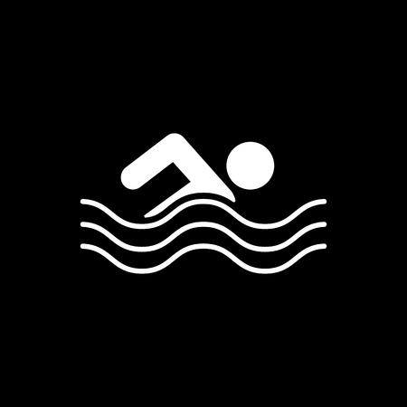 team sports: Natación icono. símbolo nadador. Ilustración del vector plana