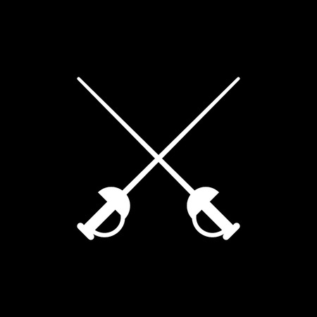 sword fight: The sword icon. Epee symbol. Flat Vector illustration Illustration