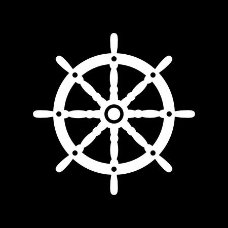 ship steering wheel: The ship steering wheel icon. Sailing symbol. Flat Vector illustration