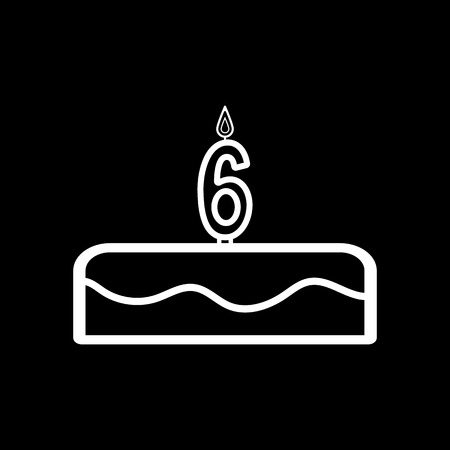 number candles: Cake with candles in the form of number 6 icon. birthday symbol. Flat Vector illustration