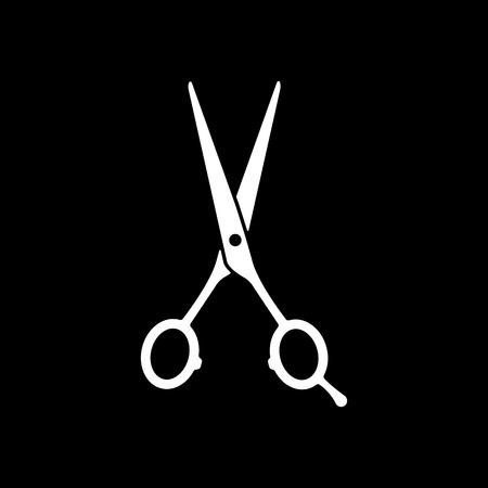 peluquería: El icono de tijeras de peluquería. Símbolo de la barbería. Ilustración vectorial Flat Vectores