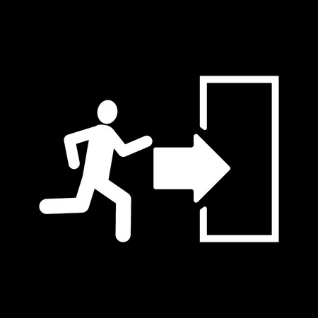 log out: The exit icon. Emergency Exit symbol. Flat Vector illustration