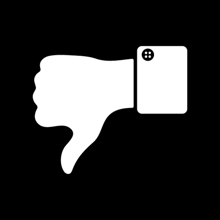 thumb down: The thumb down icon. Against and no symbol. Flat Vector illustration