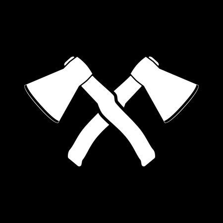hack: The crossed axes icon. Axe and hack symbol. Flat Vector illustration