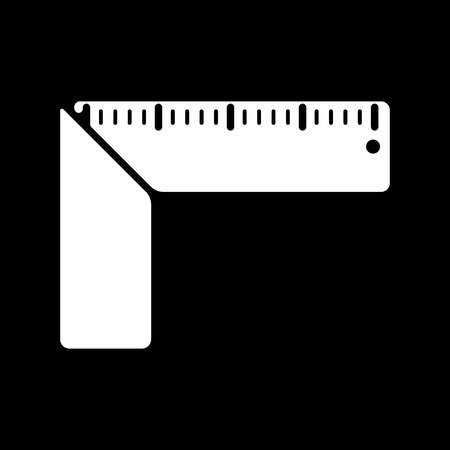 millimetre: The setsquare icon. Building square symbol. Flat Vector illustration