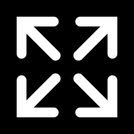 full screen: The full screen icon. Arrows symbol. Flat Vector illustration
