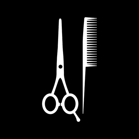 tijeras: El icono de las tijeras y el peine. Símbolo de la barbería. Ilustración vectorial Flat Vectores