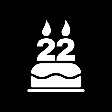 twenty: The birthday cake with candles in the form of number 22 icon. Birthday symbol. Flat Vector illustration Illustration