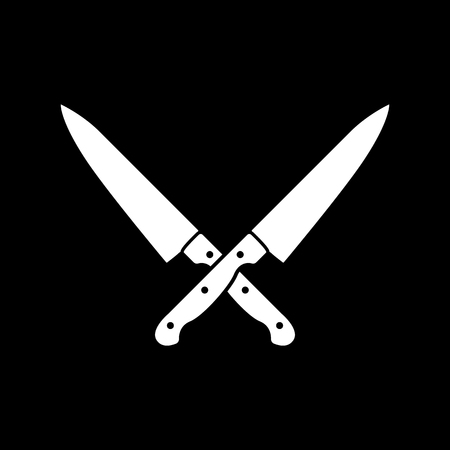 The crossed knives icon. Knife and chef, kitchen symbol. Flat Vector illustration