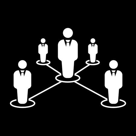 liderazgo: El icono del trabajo en equipo. Liderazgo y conexi�n, equipos de negocios s�mbolo. Ilustraci�n vectorial Flat