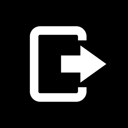 output: The exit bag icon. Logout and output, outlet, out symbol. Flat Vector illustration