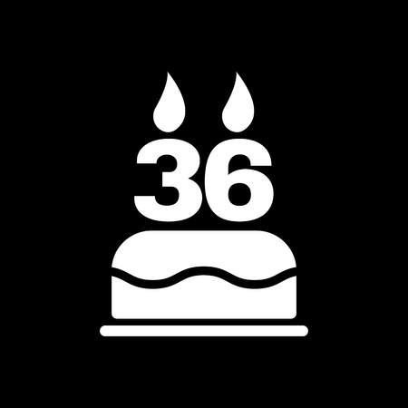 number 36: The birthday cake with candles in the form of number 36 icon. Birthday symbol. Flat Vector illustration Illustration