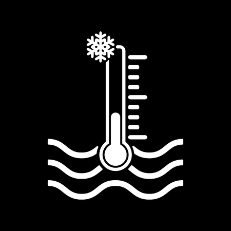 icy: The cold water temperature icon. Icy liquid symbol. Flat Vector illustration