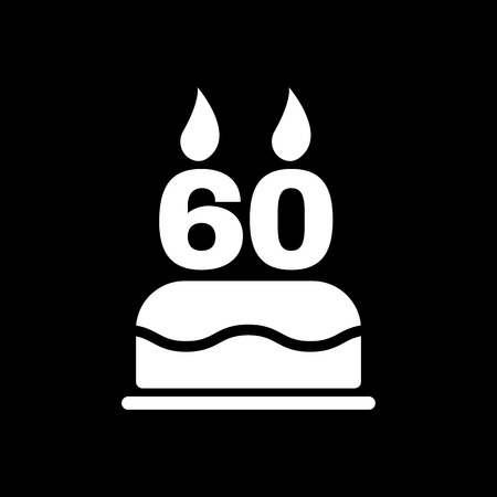 number candles: The birthday cake with candles in the form of number 60 icon. Birthday symbol. Flat Vector illustration