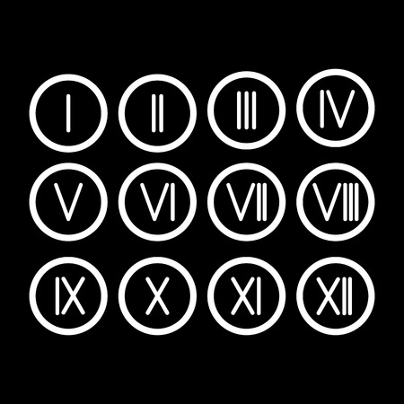 number 11: The set Roman numerals 1-12 icon. vector