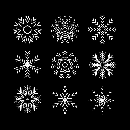 ice crystal: The Set of 9 vector abstract snowflakes Illustration