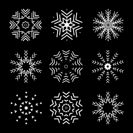 The Set of 9 vector abstract snowflakes Çizim