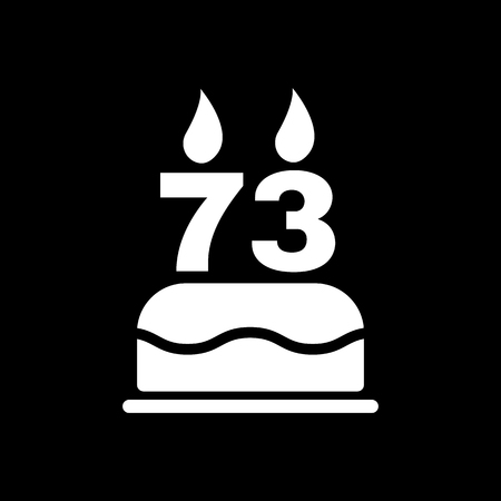 number candles: The birthday cake with candles in the form of number 73 icon. Birthday symbol. Flat Vector illustration