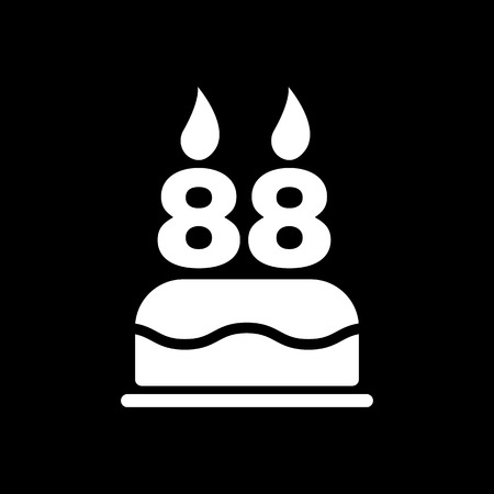 number candles: The birthday cake with candles in the form of number 88 icon. Birthday symbol. Flat Vector illustration Illustration