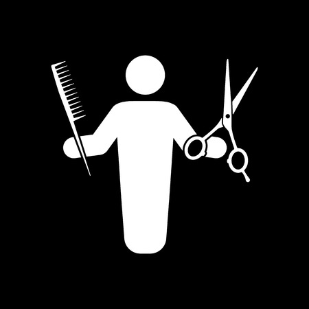 haircutting: The barber avatar icon. Barbershop and hairdresser, haircutter symbol. Flat Vector illustration
