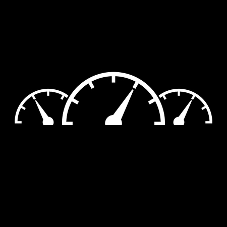 speed test: The tachometer, speedometer and indicator icon. Performance measurement symbol. Flat Vector illustration