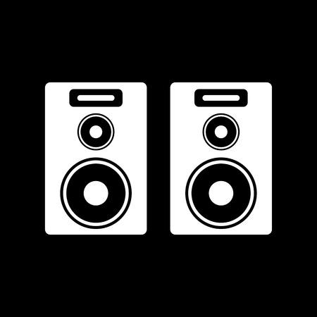 PARLANTE: El icono de audio. Altavoz y música, sonido, símbolo estéreo. Ilustración del vector plana
